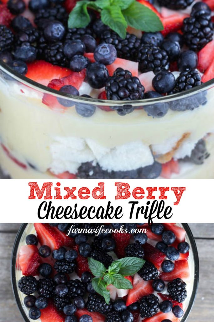 Mixed Berry Cheesecake Trifle is the perfect summer dessert with layers of angel food cake, cream cheese, cheesecake pudding, whipped cream and fresh berries.