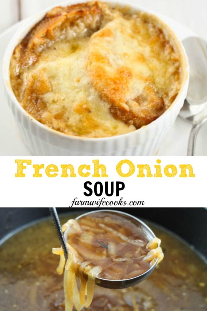 French Onion Soup is the perfect soup recipe to warm you up! It's packed full of flavors like caramelized onion, crusty bread and melted cheese, yum!