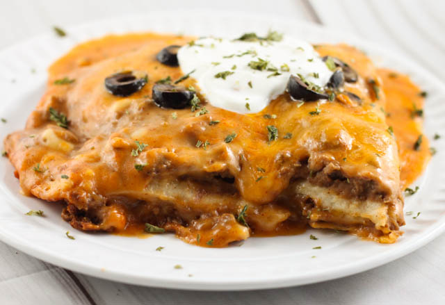Crock Pot Ground Beef Enchilada Casserole The Farmwife Cooks