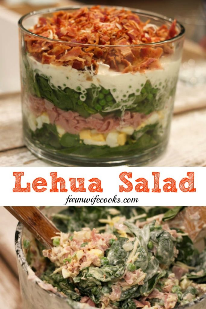 Lehua Salad is an easy salad recipe that even the meat and potato lover in your life will love! This salad has layers of spinach, bacon, ham, eggs, cheese and peas.