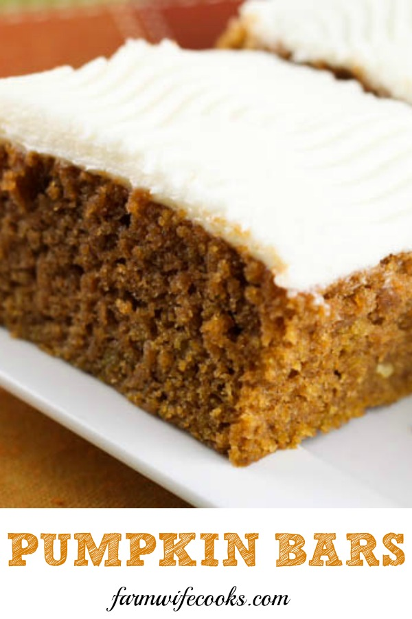 Pumpkin Bars with Cream Cheese Icing are a must make easy fall dessert recipe!
