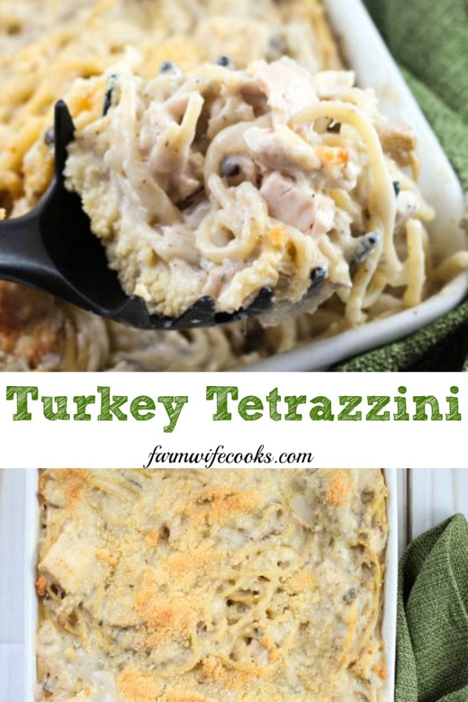 Turkey Tetrazzini is an easy, creamy, casserole recipe that's great with leftover turkey!