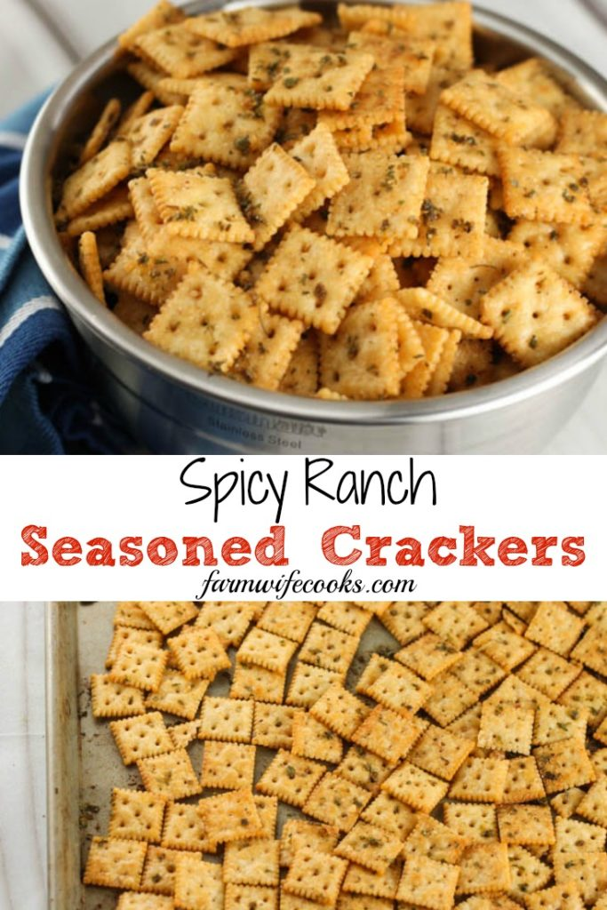 Spicy Ranch Seasoned Crackers are a great homemade snack recipe using saltine crackers and spicy ranch seasoning mix.