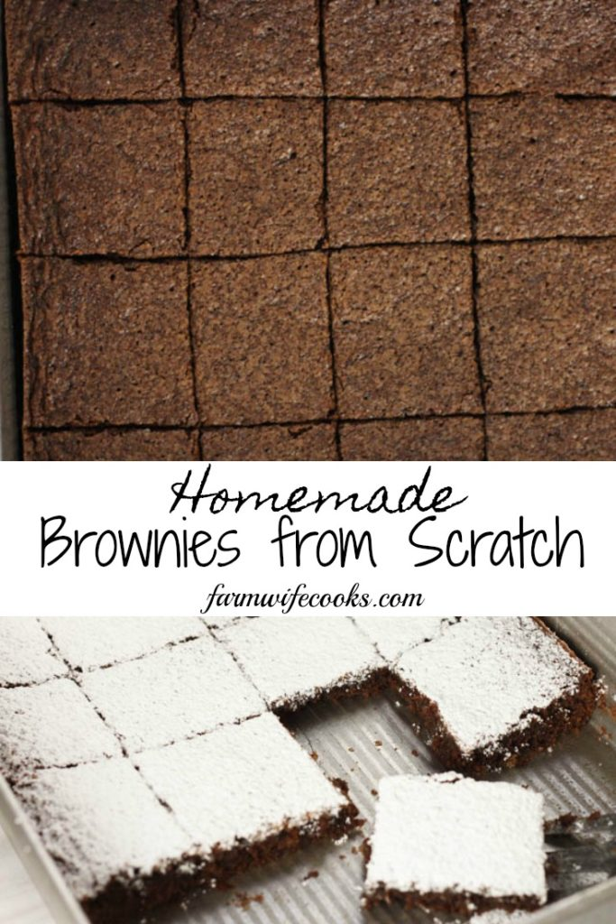 Homemade Brownies from Scratch are an easy dessert recipe that the whole family will enjoy.