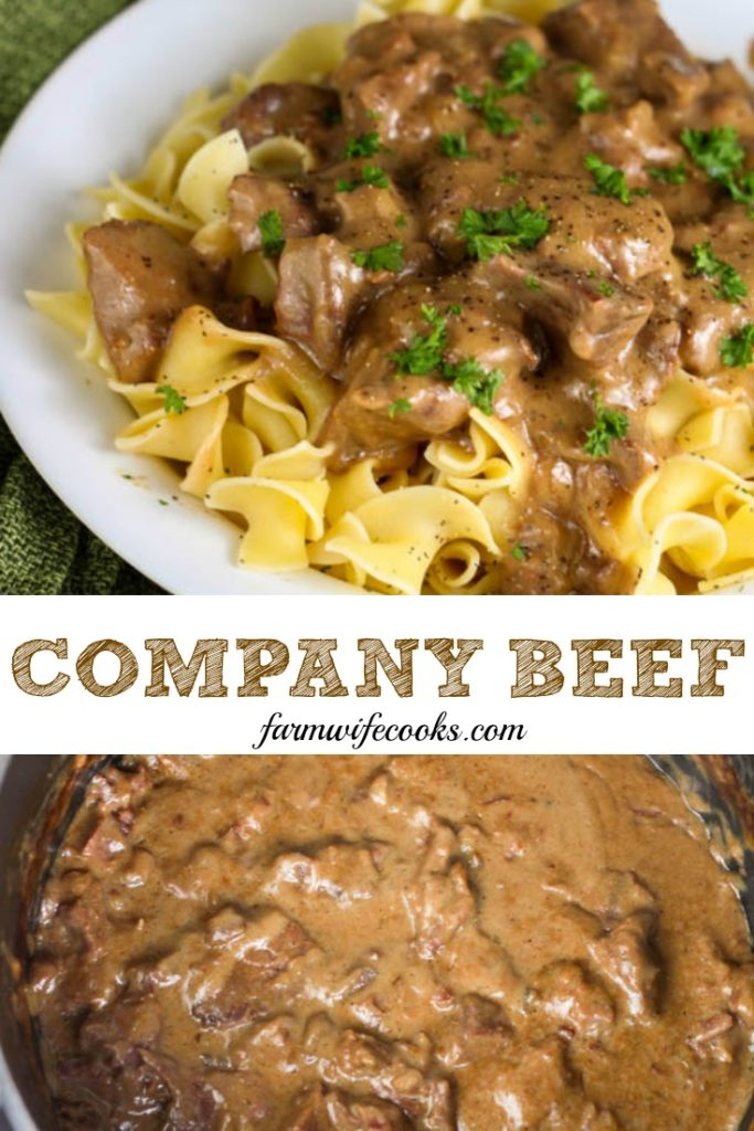 Company Beef is an easy stew beef recipe that uses 5 ingredients and is made with ginger ale and onion soup packet and tastes great served over egg noodles.