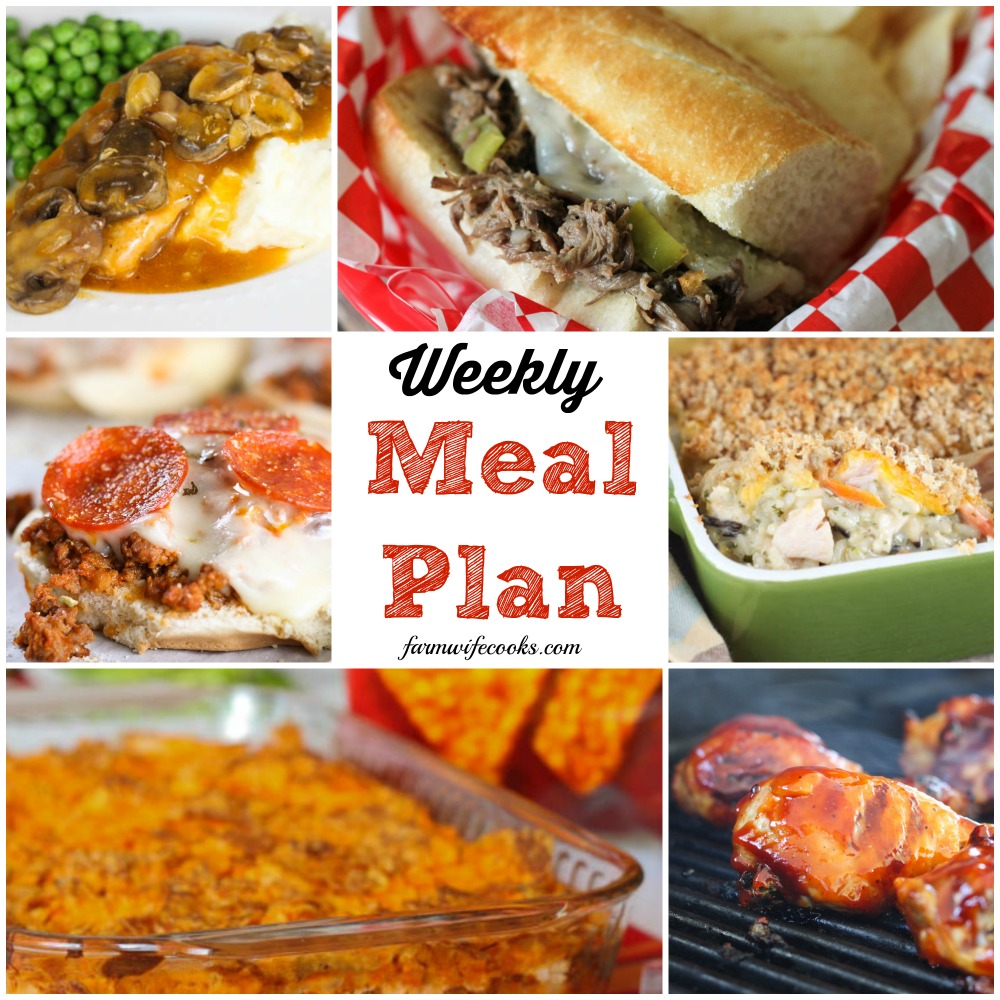 Welcome to this week's meal plan! I have a great group of recipes for you this week, including: Chicken and Rice Casserole, Taco Bake, Creamy Herbed Chicken, Vegetable Beef Soup, Pizza Burgers, BBQ Chicken, Golden Mushroom Pork Chips, Italian Beef Sandwiches, Easy Pepperoni Crescent Roll Calzones, No-Bake Peanut Butter Cheerio Bars, Gooey Butter Cake, Frozen Mudslides, Apple Pie Oatmeal, Orange Dream Fruit Salad, Crock Pot Scalloped Potatoes and more!