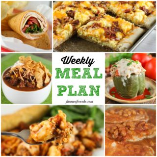 Welcome to this week's Meal Plan! I've got lots of great recipes for you this week, including Pork Chops and Baked Beans, Instant Pot Stuffed Peppers, Tortellini Casserole, Taco Soup, , Rosemary Garlic Pork Loin, Western Style Beef Brisket, Southwest Turkey Wrap, , Chicken Dip, , Homemade Brownies, , Easy Breakfast Pizza, Creamed Spinach, and more!